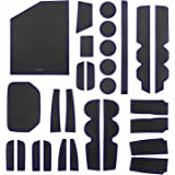 SENSHINE Console Liner Cup Liner for Toyota Tundra 2020 2019 2018 2017 2016 2015 2014 Door Mat Interior Accessories Kit(Bucket Seat, Blue Trim)