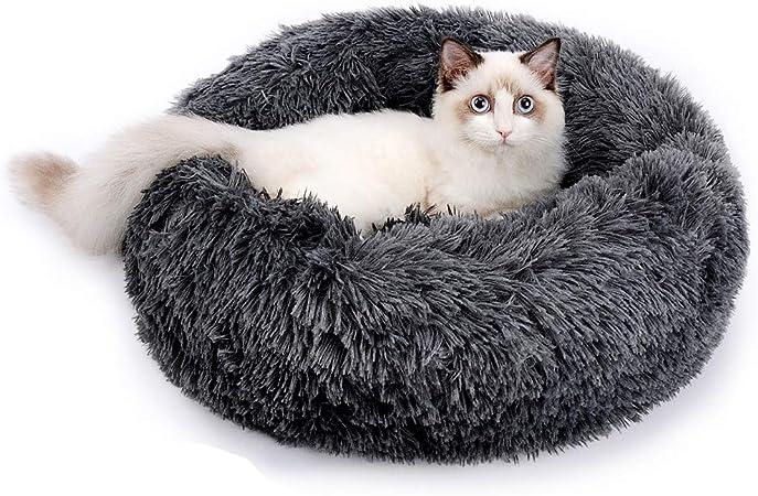 Gris fonc/é c/âlin Doux et apaisant pour Chiot Doux nid Rond en Peluche Coussin de lit de Guimauve en Beignet RAINBEAN Lit pour Animaux de Compagnie pour Chats et Chiens