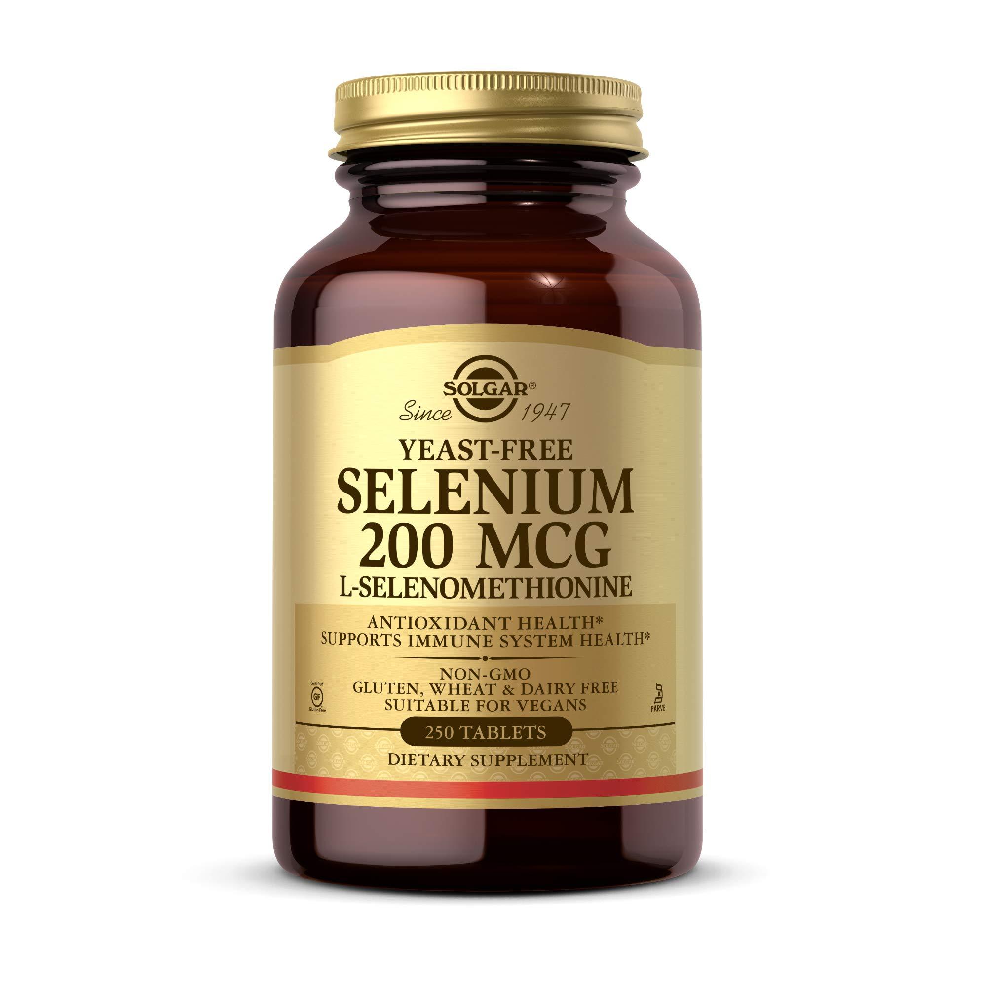 Solgar Yeast-Free Selenium 200 mcg, 250 Tablets - Supports Antioxidant & Immune System Health - Non-GMO, Vegan, Gluten Free, Dairy Free, Kosher - 250 Servings