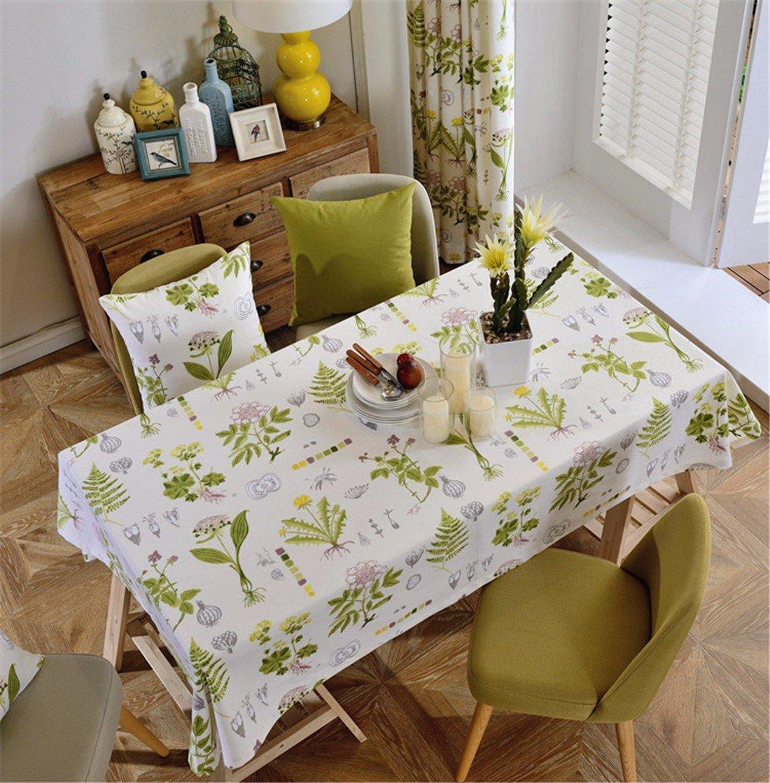 HXC Home 130  200 cm Beige Foglie tovaglia in Cotone e Lino Paese Americano Tavolo scrivania Rettangolare Quadrato Non-Ironing Eco-Friendly Garden Runner