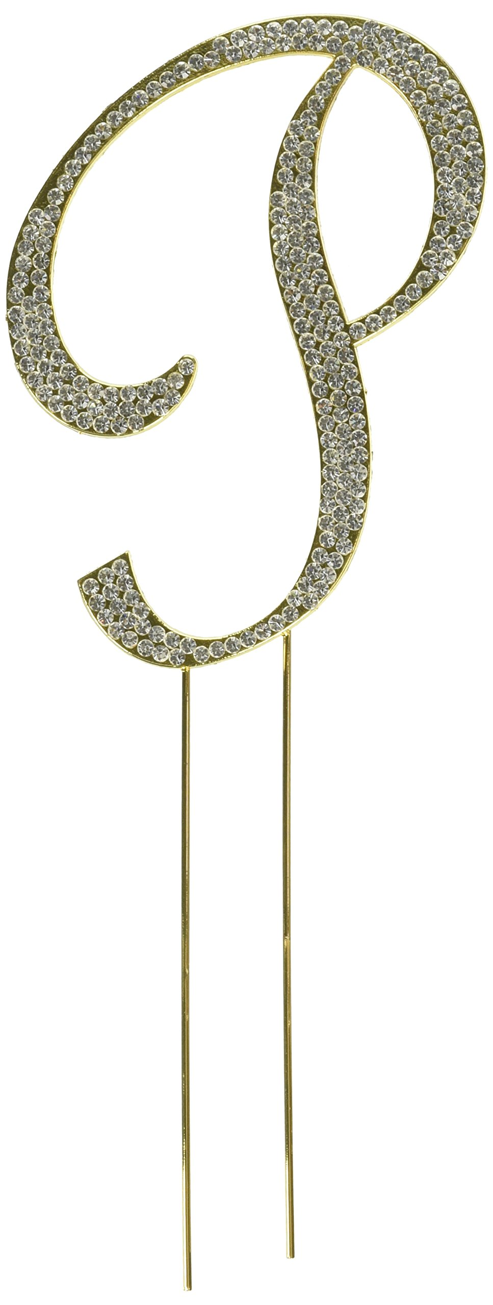 Unik Occasions Sparkling Collection Crystal Rhinestone Monogram Cake Topper - Letter P, Large, Gold