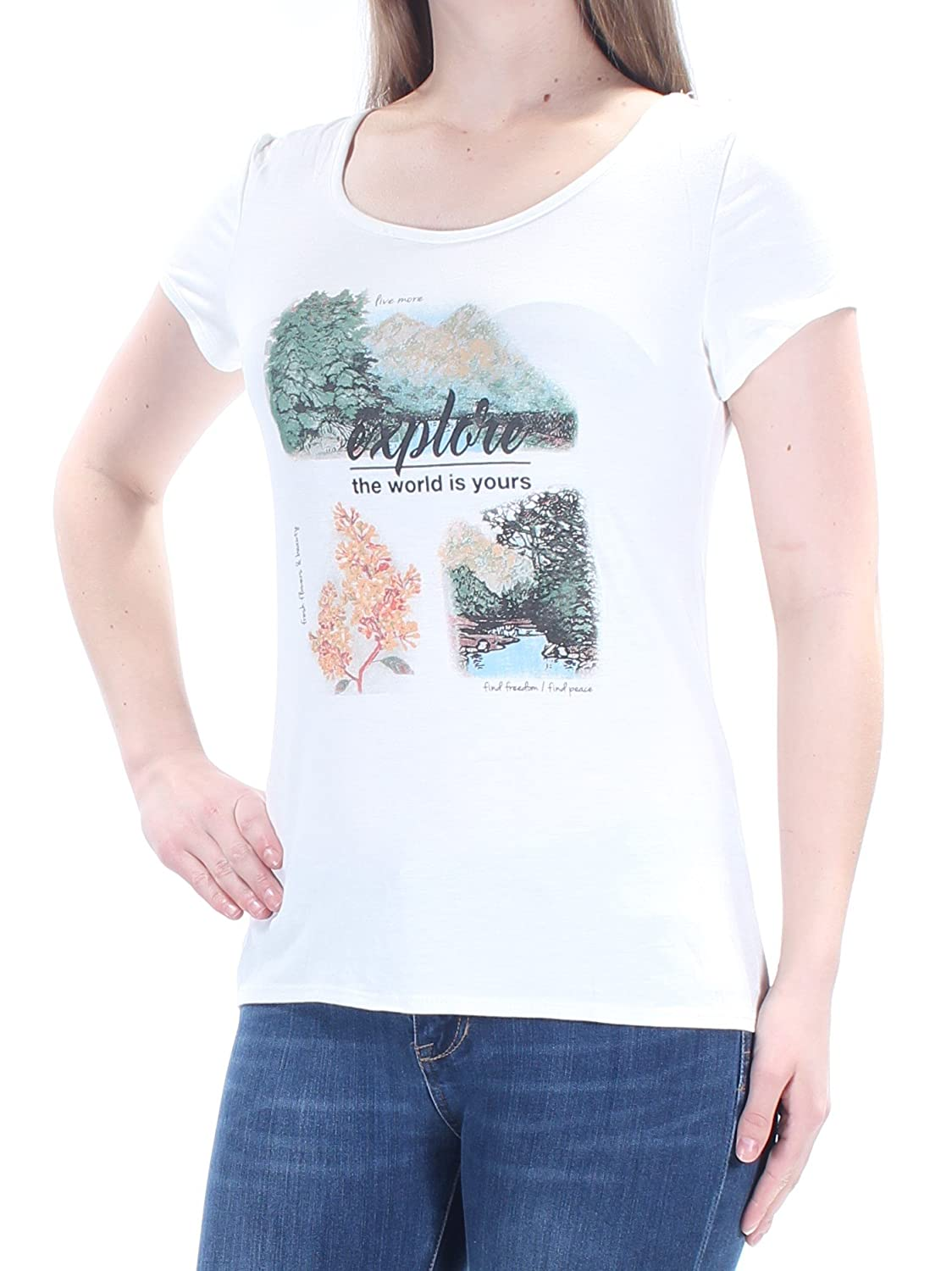 d83d9486f399 Jamie & Layla Womens Glitter Scoop Neck Graphic T-Shirt at Amazon Women's  Clothing store: