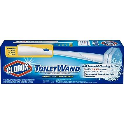 Clorox ToiletWand - Sistema de limpieza desechable para inodoro - Wand, organizador de almacenamiento y 6 cabezales de recambio para desinfectante de ...