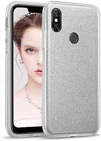 """Image ofCoovertify Funda Purpurina Brillante Plateada Xiaomi Redmi Note 6 Pro, Carcasa Resistente de Gel Silicona con Brillo Gris Plata para Xiaomi Redmi Note 6 Pro (6,26"""")"""