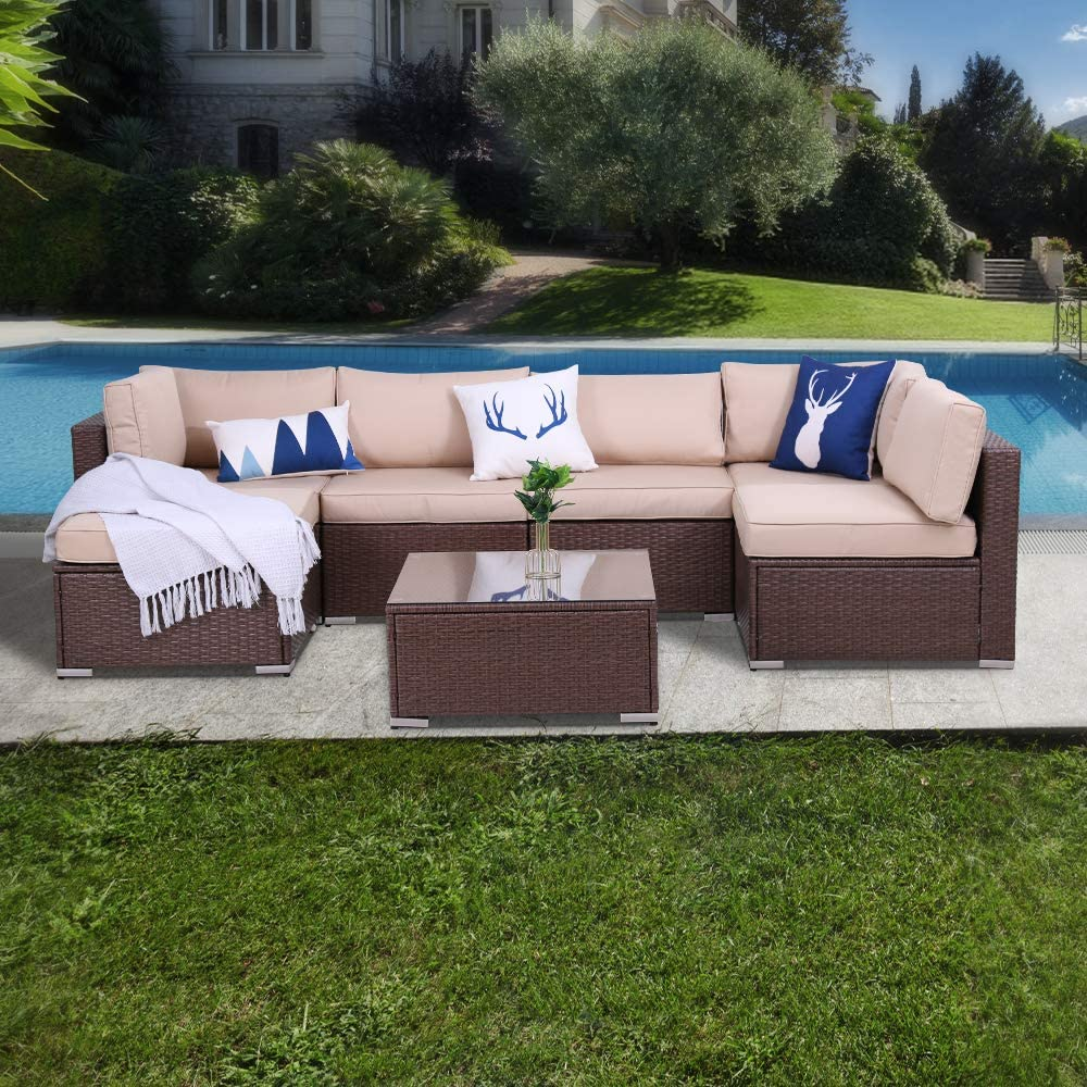 7 Piece Patio Furniture Set Conversation Sets Outdoor Sectional PE Rattan Wicker Sofas, All Weather Washable Cushions with Ottoman Coffee Table, Garden Lawn Pool Backyard,Brown
