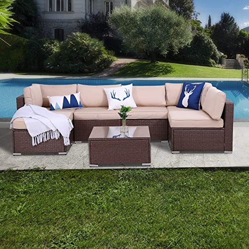 7 Piece Patio Furniture Set Conversation Sets Outdoor Sectional PE Rattan Wicker Sofa