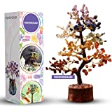 Fashionzaadi Seven Chakra Natural Stone Feng Shui Bonsai Money Tree for Chakras Balancing Gemstone Crystal Energy Good Luck Wealth Home Decor Gift Crystal Healing Size 10-12 Inch (Golden Wire)