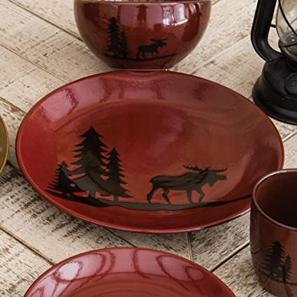 Moose and Bear Lodge Stoneware Moose Dinner Plate - Rustic Kitchen Tableware & Amazon.com | Moose and Bear Lodge Stoneware Moose Dinner Plate ...