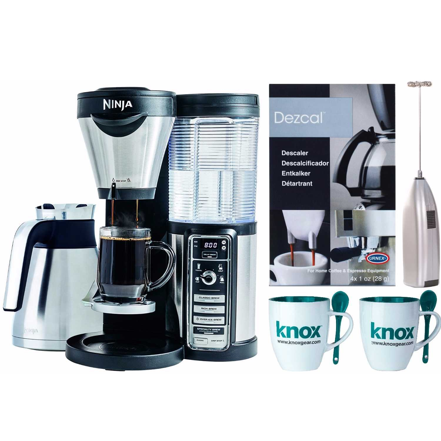Ninja Coffee Brewer with Knox mugs, Milk Frother, Urnex Descaling Powder (4 pk)