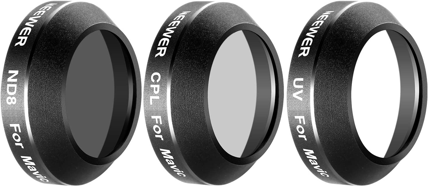 Made of Multi Coated Waterproof Aluminum Alloy Frame Optical Glass Neewer 3 Pieces Filter Kit for DJI Mavic Pro Drone Quadcopter Includes: UV CPL and ND8 Lens Filter MC-16