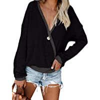 NSQTBA Womens Deep V Neck Wrap Sweaters Long Sleeve Waffle Knit Pullover Tops Shirts