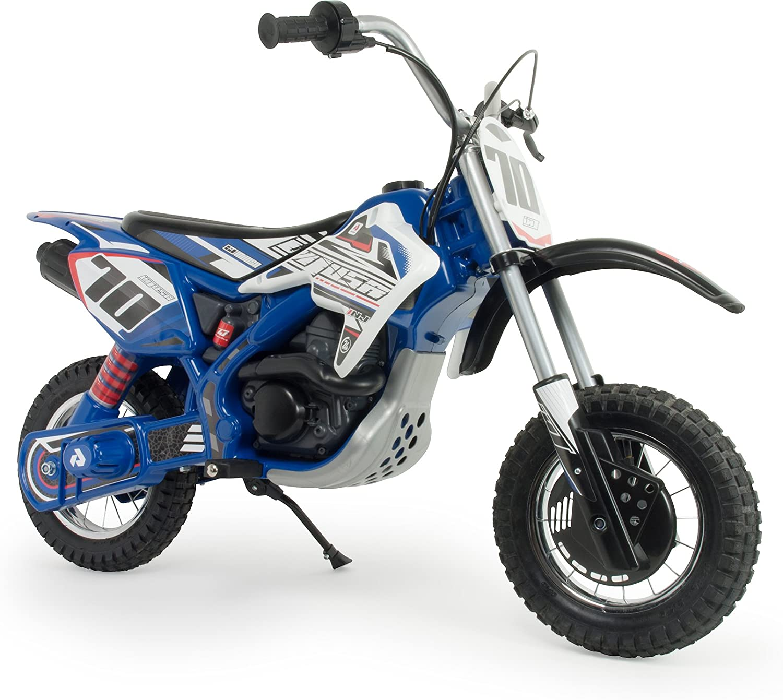 INJUSA – Moto Cross Blue Fighter 24V con Aceleración Progresiva, Freno de Tambor y Ruedas Hinchables Recomendada a Partir +6 Años