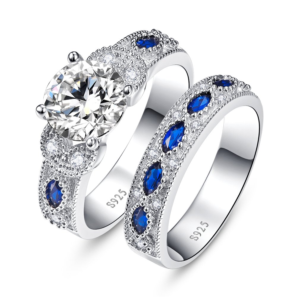 BONLAVIE Round Cut Cubic Zirconia Created Blue Sapphire Wedding Anniversary Engagement Bridal Rings Set 7