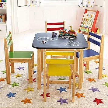 Conjunto de mesa y silla de madera para niños con mesa ...