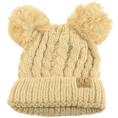 98f0e9e865f Kids CC Ages 2-7 Pom Pom Ears Chunky Thick Stretchy Knit Soft Beanie Hat  Beige  Amazon.co.uk  Clothing