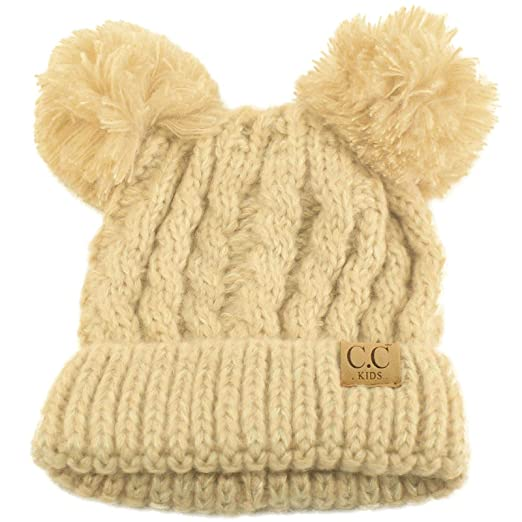 Kids Ages 2-7 Pom Pom Ears Chunky Thick Stretchy Knit Soft Beanie Hat Beige 81868a16f6e6
