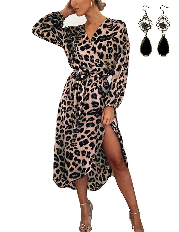 BUOYDM Vestiti Donna Eleganti da Sera Lunghi Leopardato V Scollo Irregolare Casuale Vestito Abito Maniche Lunghe Cocktail