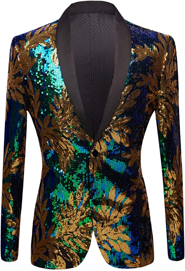 PYJTRL Men Green Blue Gold Leaves Pattern Sequins Blazer