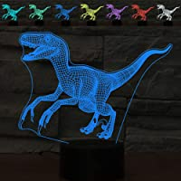 3D LED Velociraptor Dinosaur Optical Illusion Night Light,ZTOP Multicolor Touch Switch USB Powered Bedroom Decoration Desk Lamp for Christmas Holiday Birthday Cool Gift