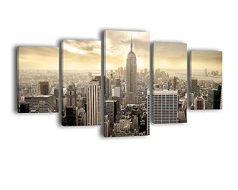 Quadro in parti motivo vista su skyline di new york manhattan