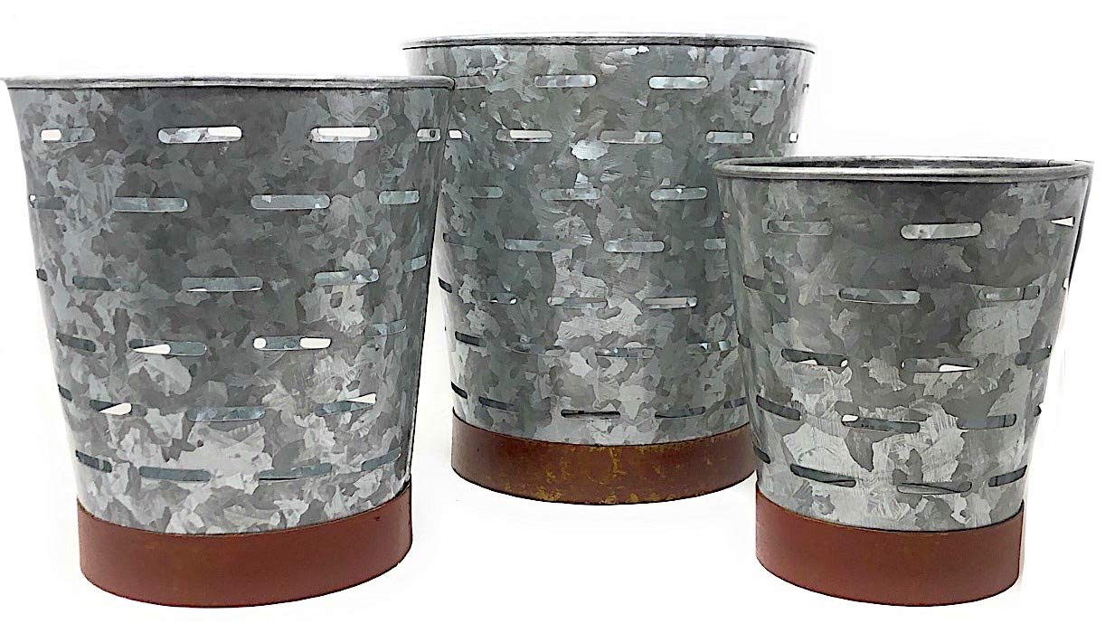 Three Hands Metal Galvanized Olive Pierced Containers Buckets Silver Decorative Distressed Rustic Indoor Outdoor Kitchen Pantry Bathroom Mail Garden Stackable Organizer (Set of 3) by Three Hands