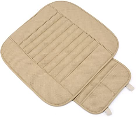Beige Yosoo Universal PU Leather Car Interior Front Seat Cushion Mat Protective Cover Pad Single Seatpad for Auto Driver Car Supplies Office Chair with Breathable Bamboo Charcoal