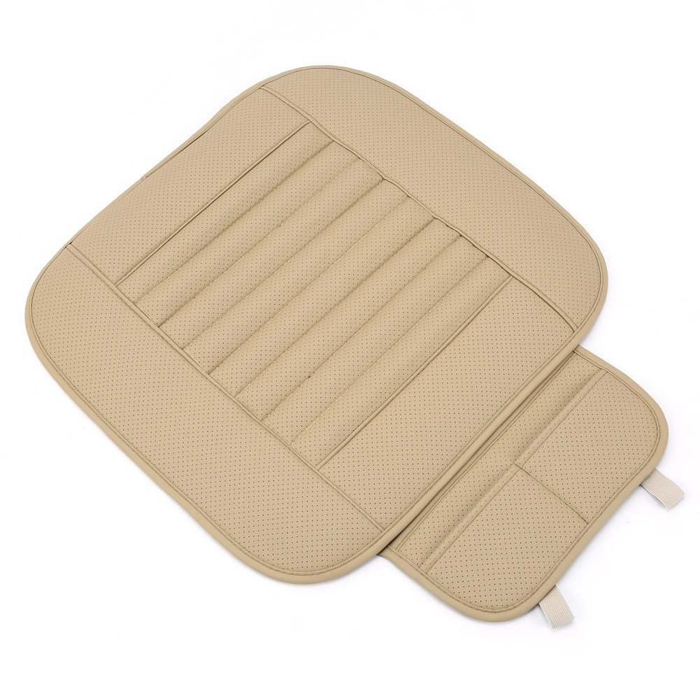 Yosoo Universal PU Leather Car Interior Front Seat Cushion Mat Protective Cover Pad Single Seatpad for Auto Car Office Chair (Beige)