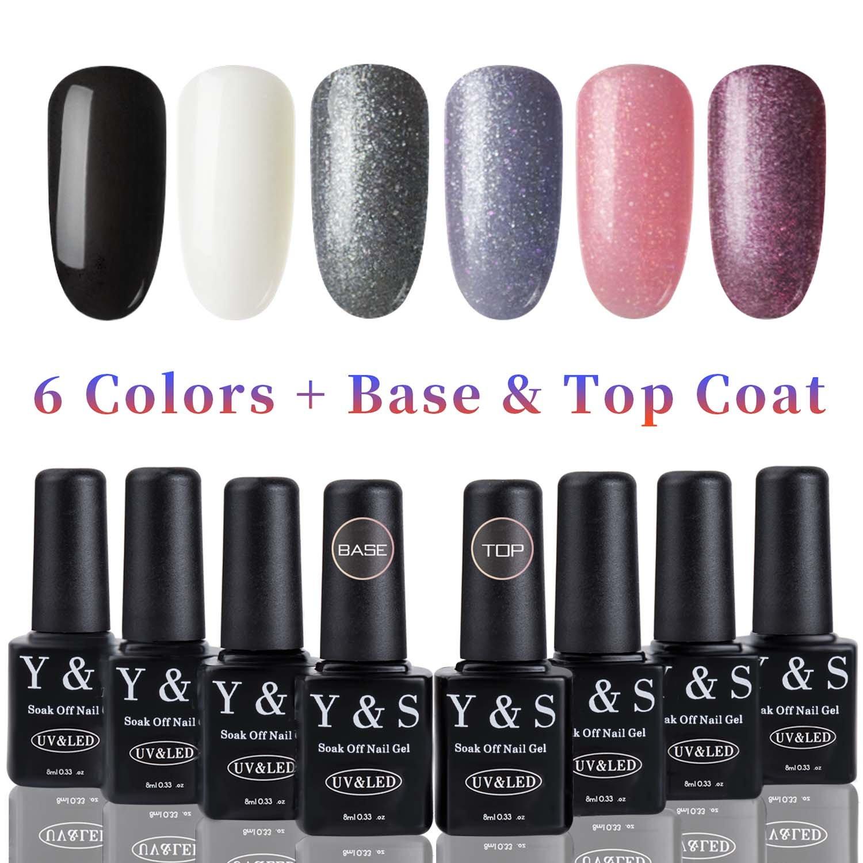YaoShun UV LED Gel Nail Polish Establece 6 Colores + Capa Base y Capa Superior 8ml, # 004: Amazon.es: Belleza