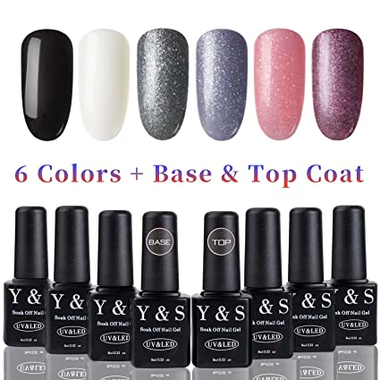YaoShun UV LED Gel Nail Polish Establece 6 Colores + Capa Base y Capa Superior 8ml
