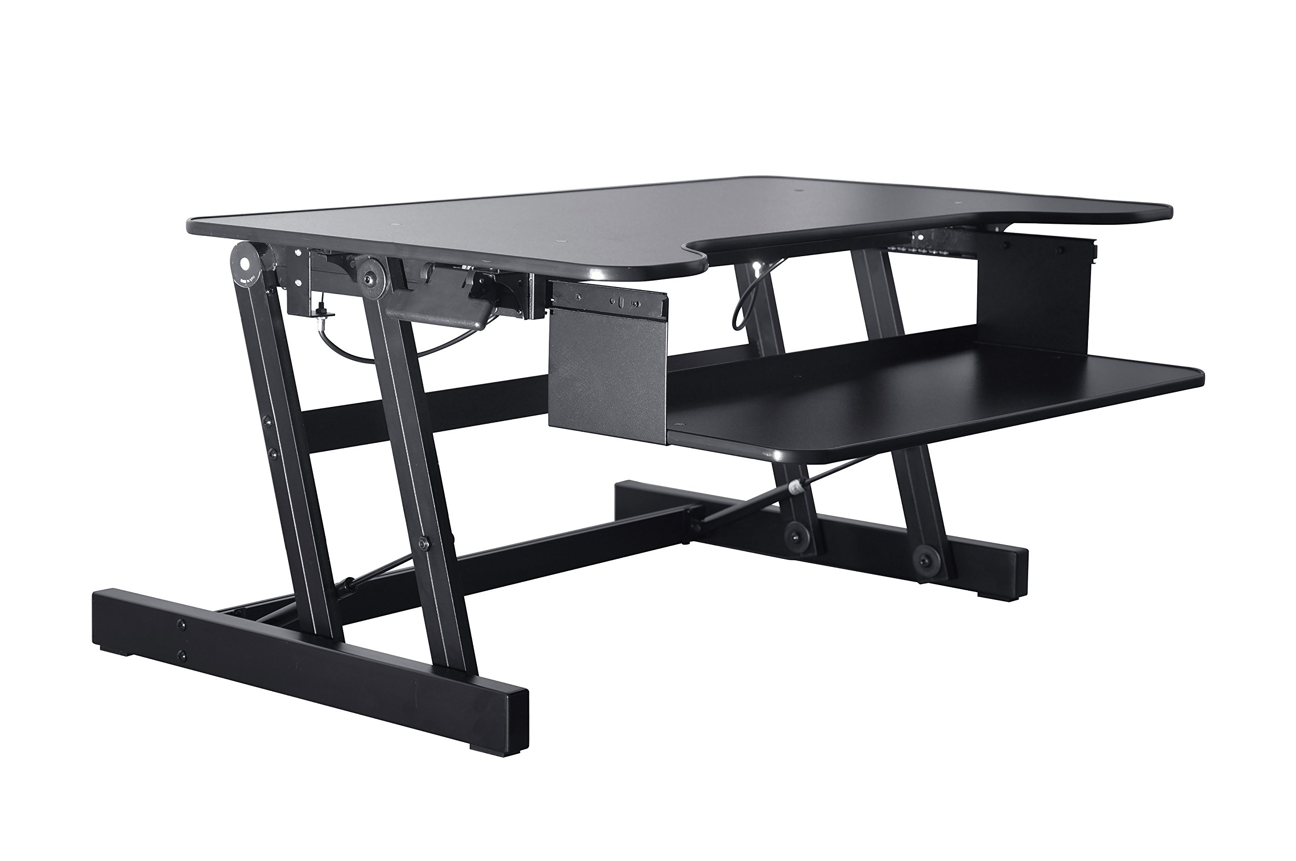 Rocelco ADR Standing Desk - Height Adjustable Sit Stand Desk Converter - Dual Monitor Capable - 32'' wide With Retractable Keyboard Tray - Black Finish
