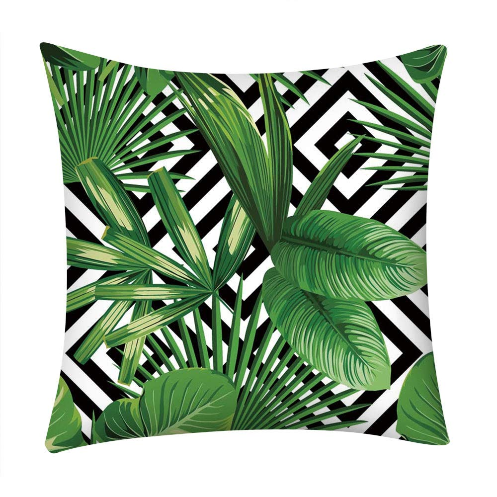 Flowers Leaves Throw Pillow Cases Pgojuni Cushion Cover Polyester Pillow Cover 1pc 45cmx45cm (F)