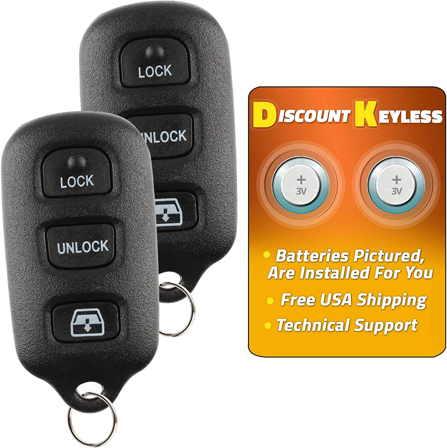 2 Pack New Replacement Keyless Entry Remote Key Fob for Toyota 4Runner Sequoia HYQ12BAN HYQ1512Y HYQ12BBX