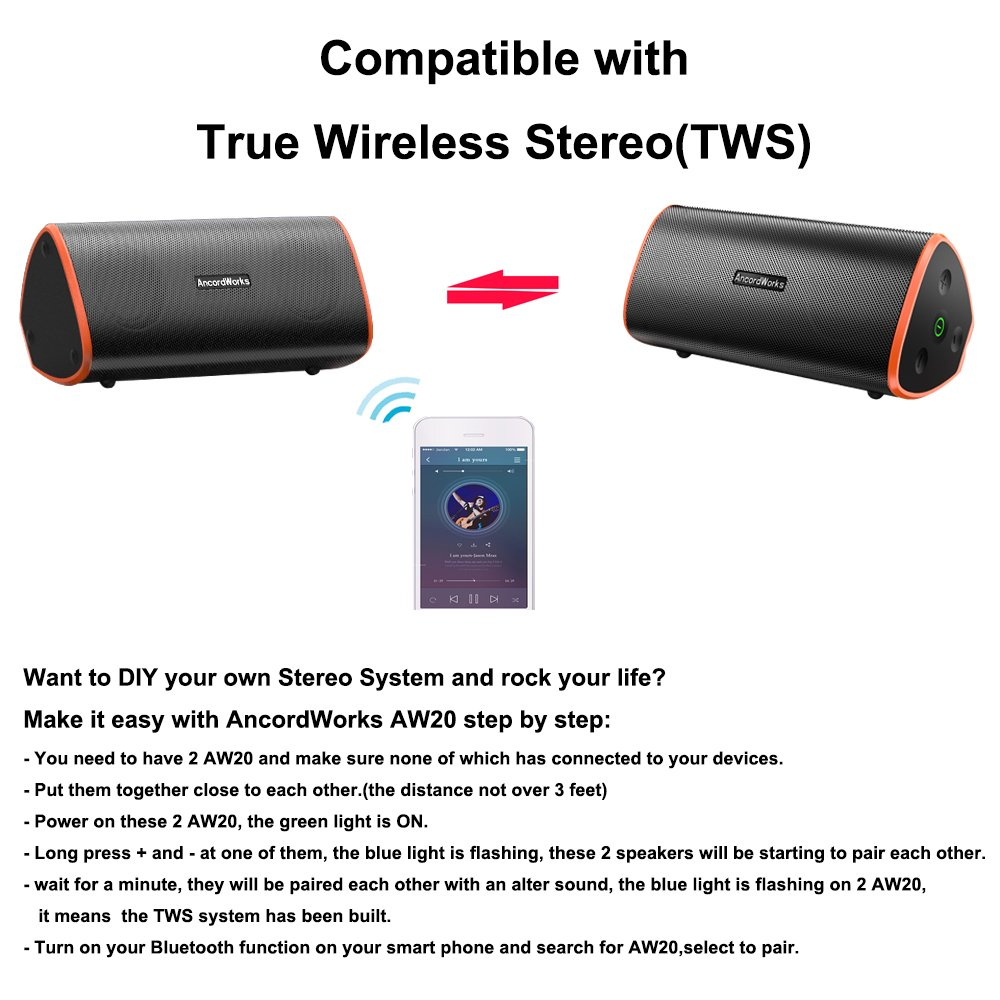 AncordWorks Triangle TWS waterproof Bluetooth Speaker IPX7 20W Ground Shaking Bass Sound, 5000mAh battery 10+ Hours Playtime Portable Outdoor and Travel (orange)