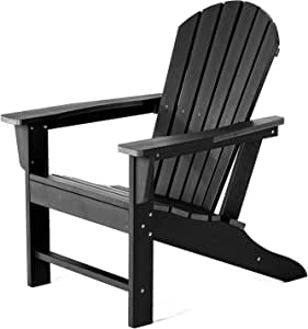 SERWALL Adirondack Chair | Adult-Size, Weather Resistant for Patio Deck Garden, Backyard & Lawn Furniture | Easy Maintenance & Classic Adirondack Chair Design (Black)