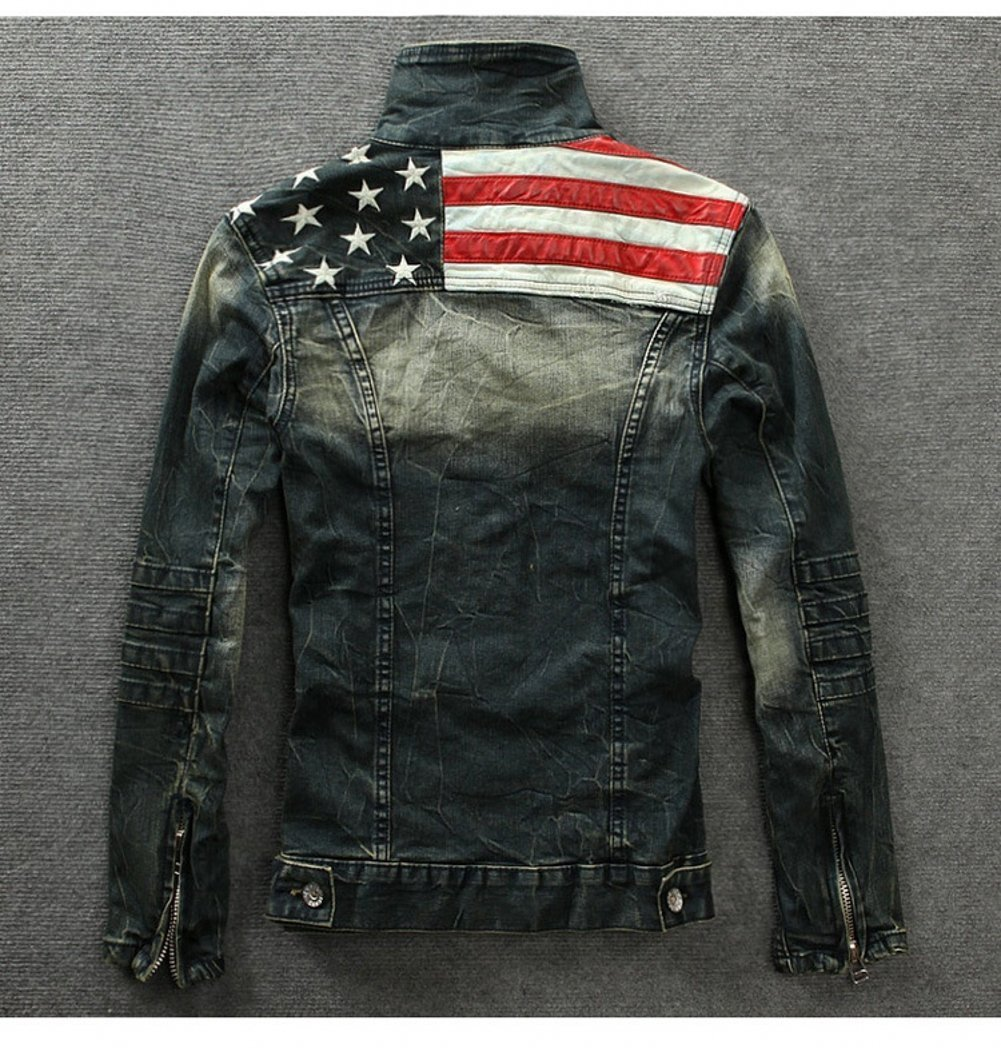 Amazon.com: free2mys Denim Vintage bandera americana para ...