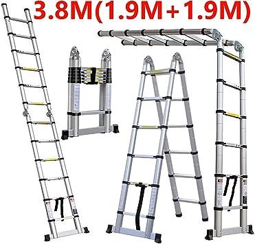 Escalera telescópica portátil de aluminio plegable, ligera, 12 peldaños, DIY, 3,8 m, 1,9 m + 1,9 m, escalera plegable, escalera tipo escalera, constructores multiusos, extensión para el hogar, garaje, portátil: Amazon.es: Bricolaje y herramientas