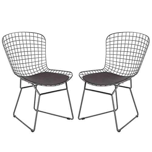 HOMEFUN Dining Chair Kitchen Guest Reception Chair, Gray Bertoia Wire Side Set of 2 Chairs, with Seat Cushion and Leaning Cushion