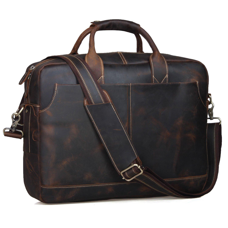 S-ZONE Herren Vintage Echtes Leder-17-Inch Laptop Aktenkoffer Tasche 268