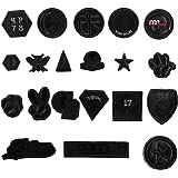 20 Piezas exquisitas Bricolaje Ropa Parches Pegatinas Mini Moda Negro patrón Bordado de Hierro-en Parche para Camisetas Pantalones Vaqueros Sombreros Bolsas de Ropa Artesanal
