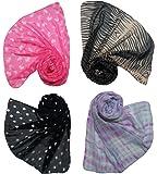Letz Dezine Women's Poly Cotton Combo Of 4 Scarves (Multicolor_170Cm X 50Cm)