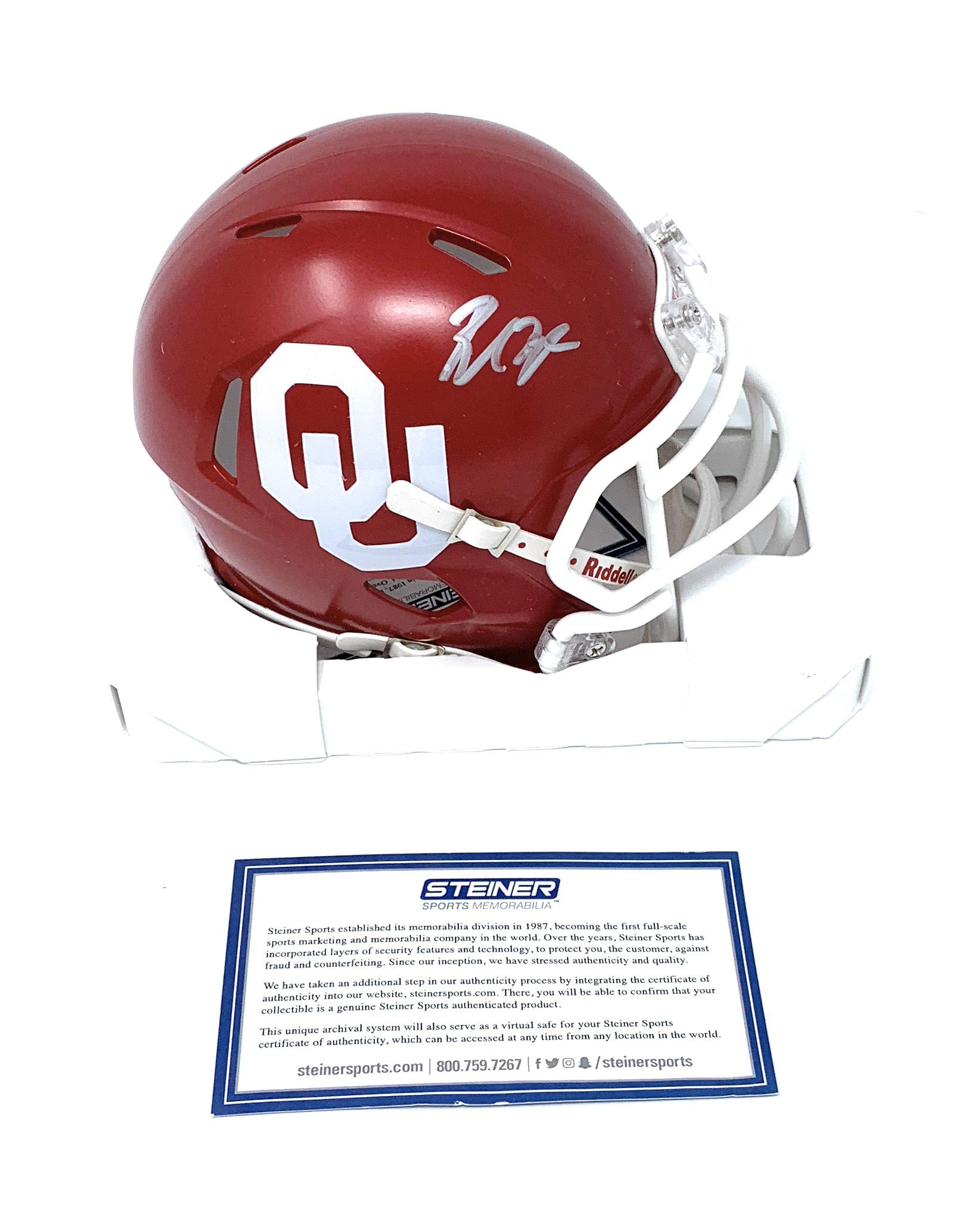 Baker Mayfield Oklahoma Sooners Signed Autograph Speed Mini Helmet Steiner Sports Certified