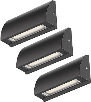 ledscom.de LED lámpara de Pared Segin lámpara de Escalera para Interior y Exterior, Plano, Aufbau, Negro, Blanca cálida, 190lm, 3 UDS: Amazon.es: Electrónica