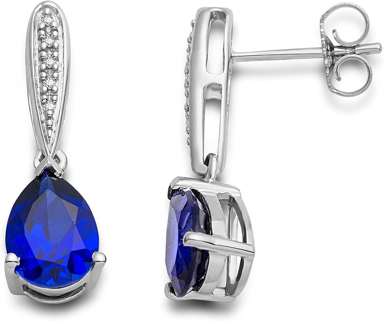 Pendientes Miore para mujer en plata de ley 925 con rubí rojo/zafiro azul y diamantes naturales.