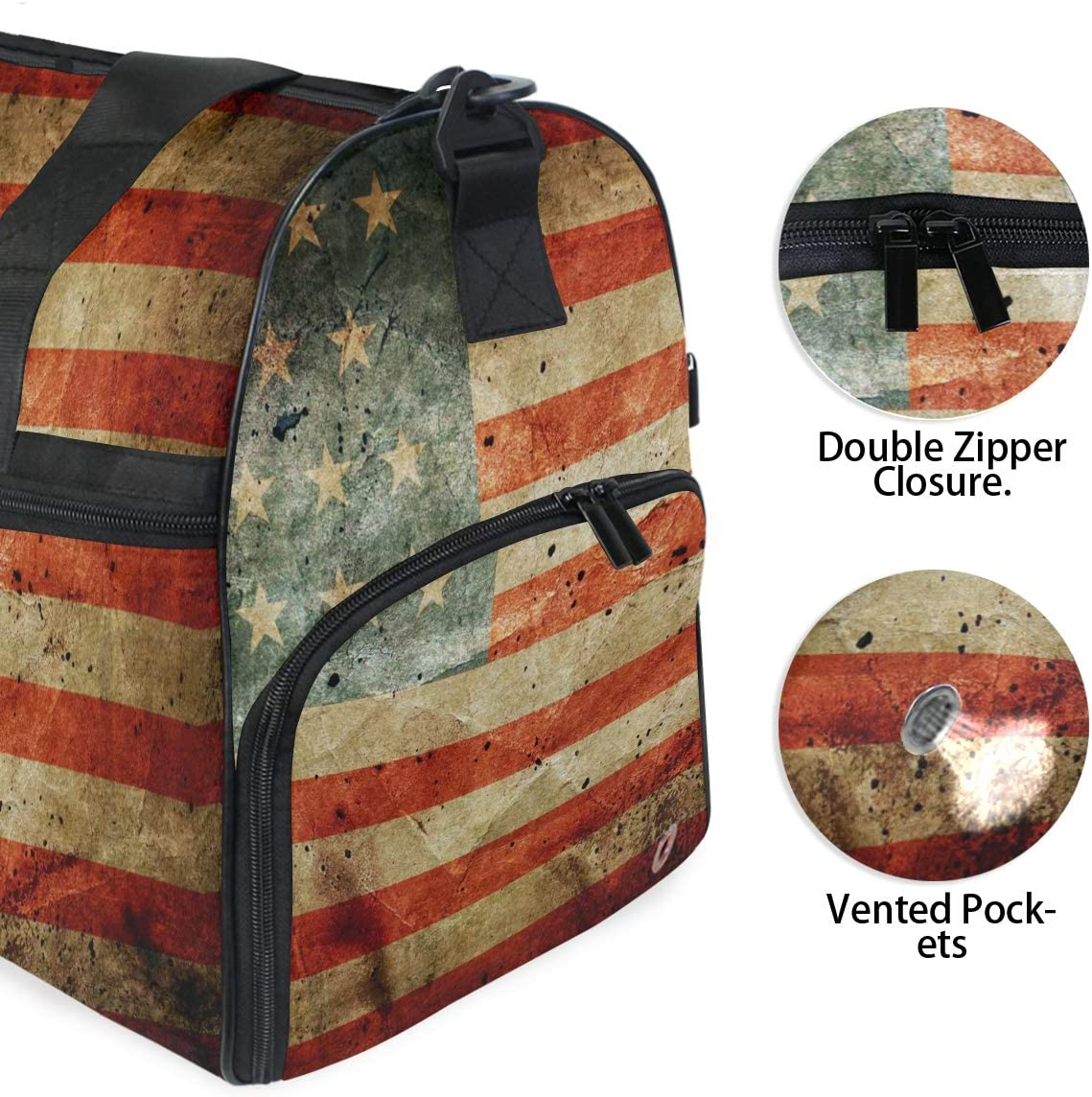 ALAZA Grunge American Flag Military Sports Gym Duffel Bag Travel Luggage Handbag Shoulder Bag with Shoes Compartment for Men Women