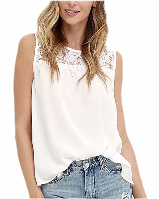 ZANZEA Blusa Camiseta Casual Elegante Playa Oficina Chiffón Encaje Cuello sin Mangas para Mujer Blanco EU