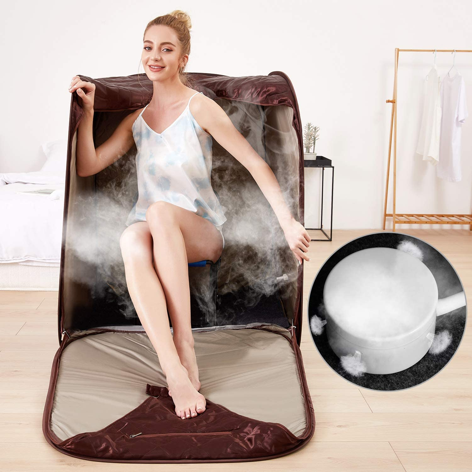 2L Personal Therapeutic Sauna for Weight Loss Detox Relaxation at Home,One Person Sauna with Remote Control,Foldable Chair,Timer Dark Silver OppsDecor Portable Steam Sauna Spa US Plug