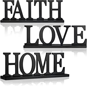 3 Pieces Wood Home Letter Sign Love Faith Sign Black Wood Family Decorative Table Sign Standing Wood Letter Sign Cutout Tabletop for Home Room Table Fireplace Mantel Centerpiece Decoration