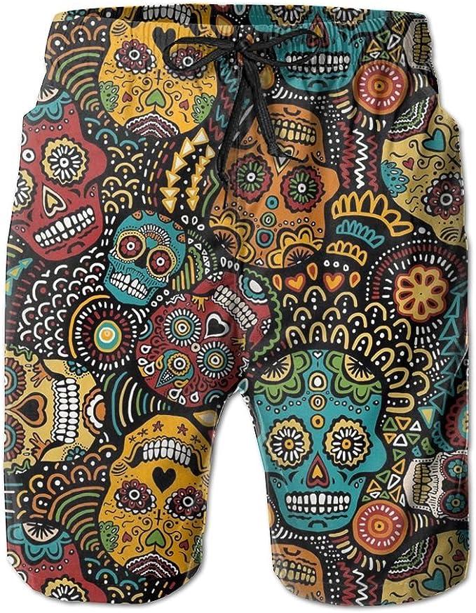 Mens Swim Trucks Day of Dead Sugar Skull Man Quick Dry Board Shorts with Lining