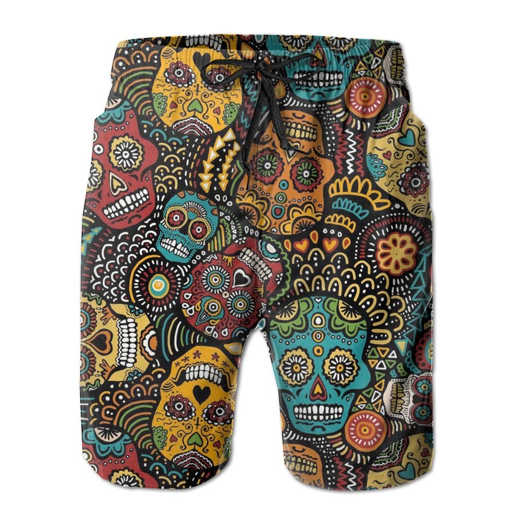HUDEWDS23 New Mexican Sugar Skulls Men's Swim Trunks Summer Suit with Pockets