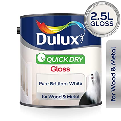 96fac884a4 Dulux Quick Dry Gloss Paint For Wood And Metal - Pure Brilliant White 2.5L